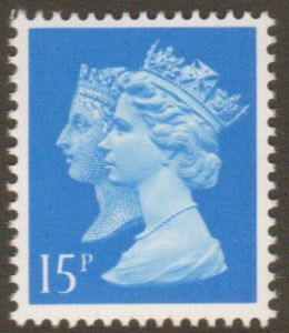 SG1468Ea 15p Right Band Double Head Machin Stamp Harrison Print